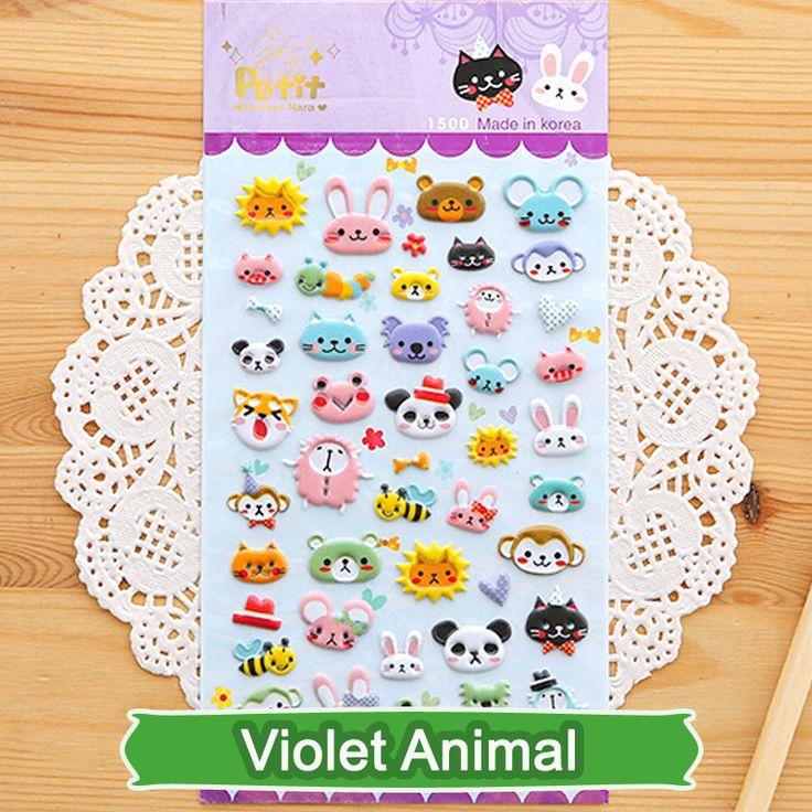 SST * 1 Lembar 'Violet hewan' Diary Dekorasi Anak-anak stiker 3D PVC Korea Alat Tulis Tk Bayi Hadiah Mainan Anak-anak +