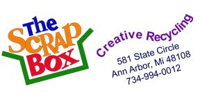 The Scrap Box • Creative Recycling •  The Scrap Box is a tax exempt 501(c)(3) organization whose mission is to promote creativity and sustainability by providing inexpensive recycled materials and teaching eco-friendly ways to recycle.