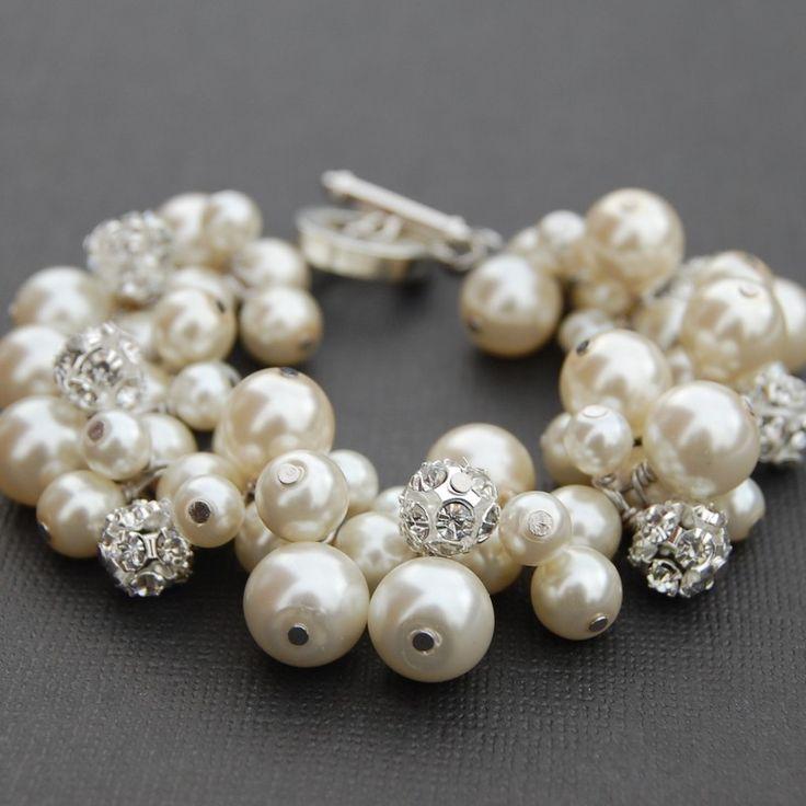 Bridal Jewelry, Ivory Pearl Rhinestone Bracelet, Wedding Jewelry, Bridesmaid Gifts, Brides Jewelry. $34.00, via Etsy.