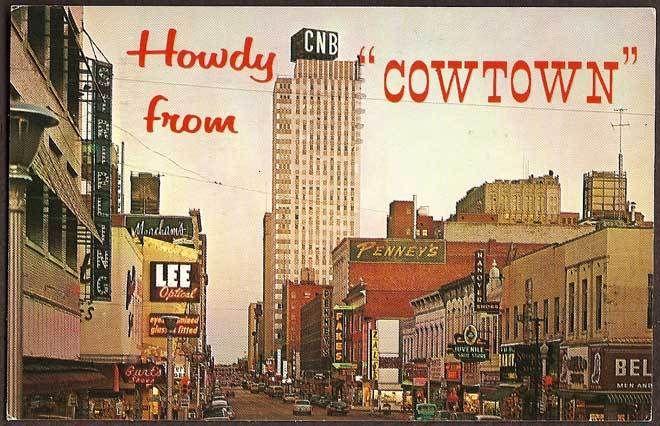 Fort Worth Texas Tx Houston Street At Dusk 1962 Vintage