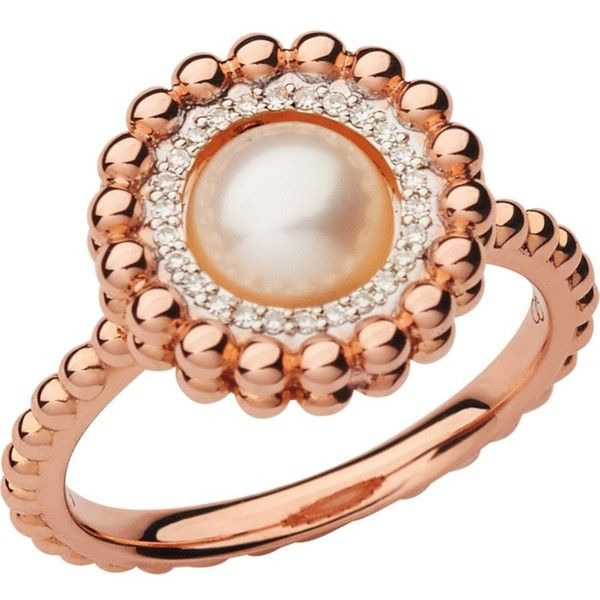 LINKS OF LONDON Effervescence 18ct rose gold, diamond and pearl ring ($1,020) ❤ liked on Polyvore featuring jewelry, rings, rose gold rings, pink gold diamond rings, diamond jewelry, diamond jewellery and diamond rings