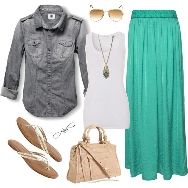 Summer Outfit....cute skirt and shoes! I would put a cardigan over the tank top instead though...