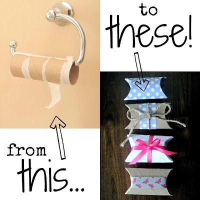 DIY toilet paper rolls into pillow boxes!