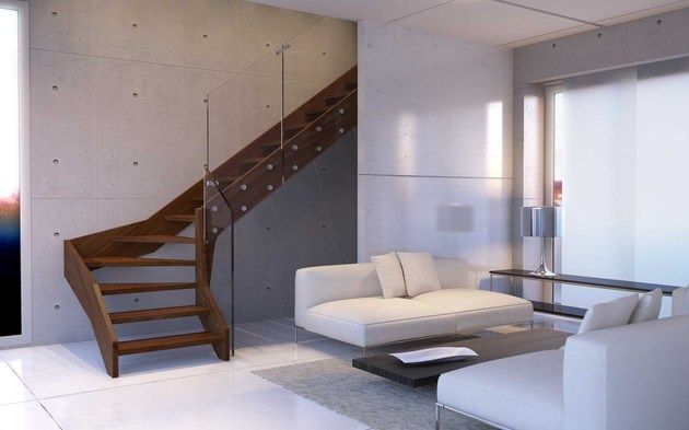 cool Contemporary Open Wooden Frame Staircases with Glass Railing by Rintal – Vi…