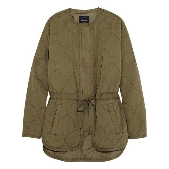 Где купить Куртка цвета «хаки» из плотного хлопка стеганая короткая без воротника с поясом и накладными карманами Madewell