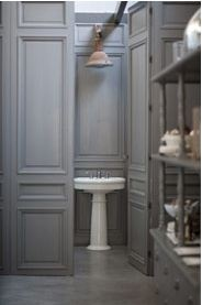 grey panelled bathroom