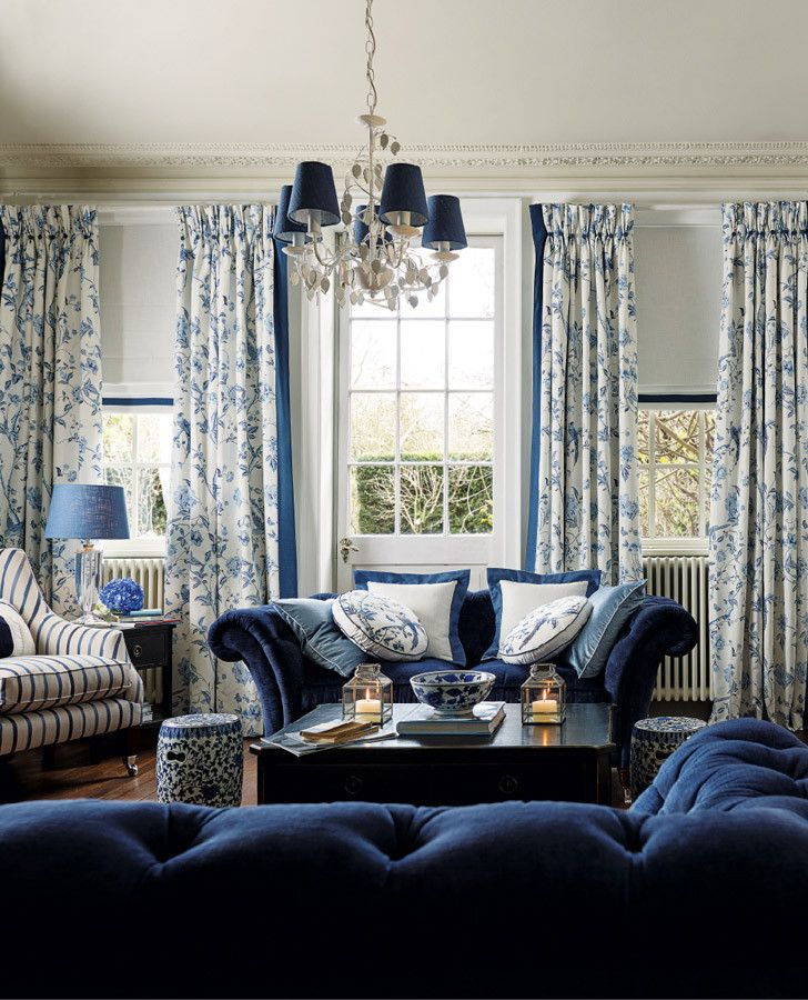 Summer Palace Royal Blue Floral Linen Mix Curtain Fabric | Laura Ashley | Autumn…