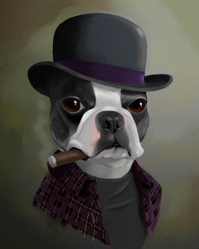 The Bowler Hat - Boston Terrier Art Print by Brian Rubenacker
