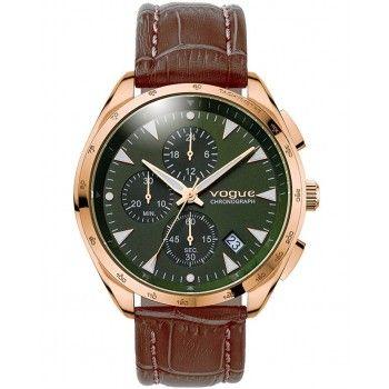 VOGUE Kingsman Chronograph Rose Gold Brown Leather Strap 55021.5