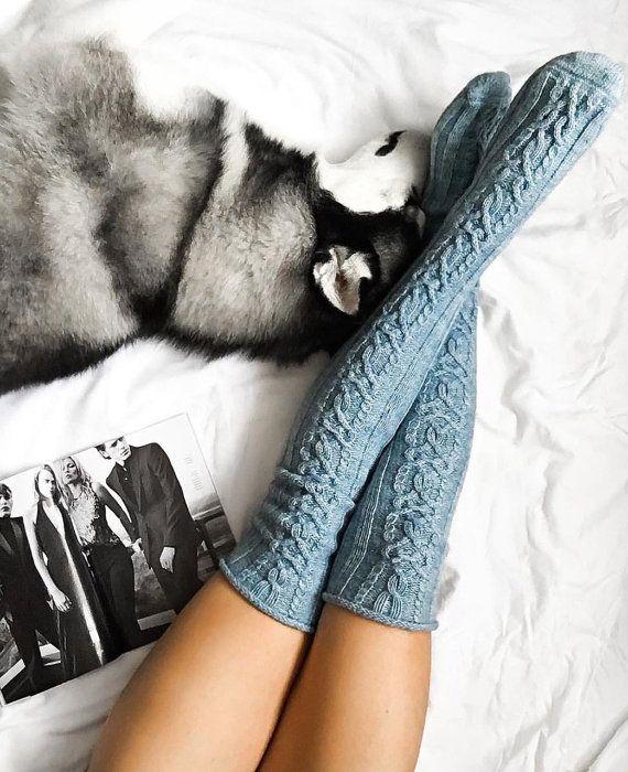 Haute de genou câble tricot alpaga laine chaussettes épaisses, bleu poudre…