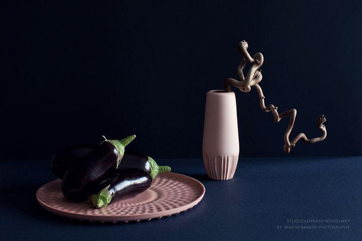 "Pink Pleasures! by #lennekewispelwey (plate ""Flat Frenzy & vase ""Thin"") picture by Masha Bakker Matijevic. http://www.lennekewispelwey.nl/"