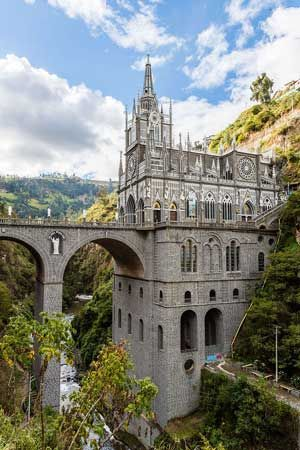 Beautiful Santuario de las Lajas is a Roman Catholic cathedral and basilica dedicated to the veneration of Our Lady of Las Lajas Ipiales, Colombia. https://www.pilgrim-info.com/las-lajas-sanctuary/
