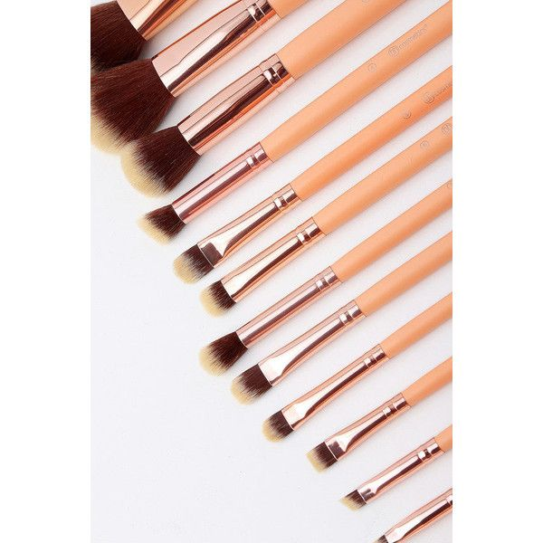 Chic 14 Piece Rose Gold Brush Set with Cosmetic Case ($22) ❤ liked on Polyvore featuring beauty products, makeup, makeup tools, makeup brushes, pink, wash bag, lip brush, eyeshadow brushes, angled powder brush and shadow brush