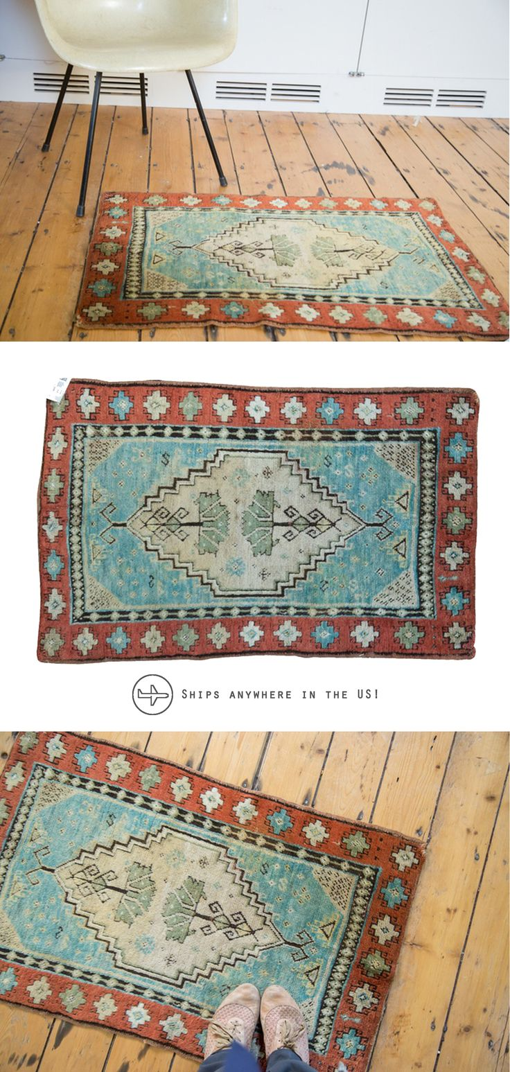 Many years of enjoyment to come with this hand knotted Turkish Oushak rug mat circa 1930's.