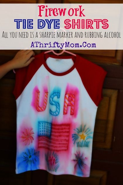 Tie dye Shirts with sharpie markers, make Fire Work shirts for the 4th of July all you need is a sharpie, and a spraybottle #TieDie, #DIY, #...: Craft Kids, Tie Dye Shirts, Diy Crafts, Beverage Drinks, Crafts Scrapbook, Ties Dyes Shirts, Fireworks Ties, Crafts Kids, Kids Crafts