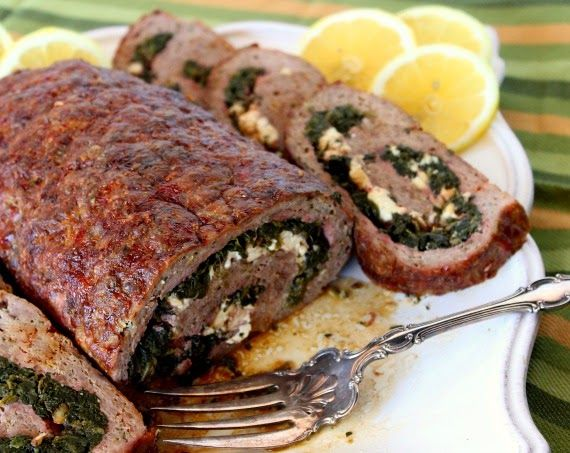 Rolled Greek Meatloaf Recipe via Kudos Kitchen By Renee