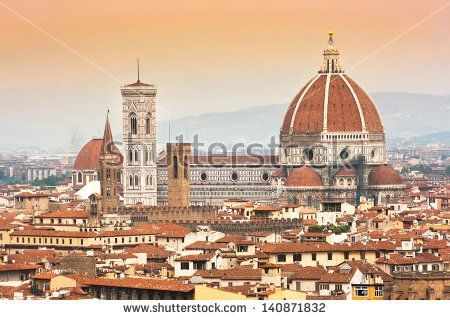 Cathedral Santa Maria Del Fiore with Giotto's Campanile at sunset in Florence, Italy