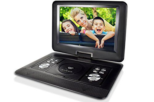ZEROXCLUB 14.5-inch Portable DVD Player with Swivel Screen,Support USB/SD Card ,4 Hours Rechargeable Battery,Best Gift for Kids(Black).