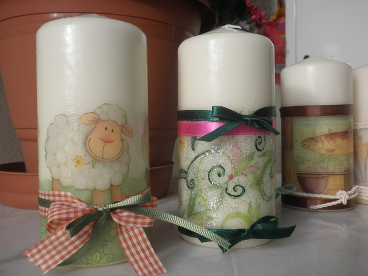 decoupage candles