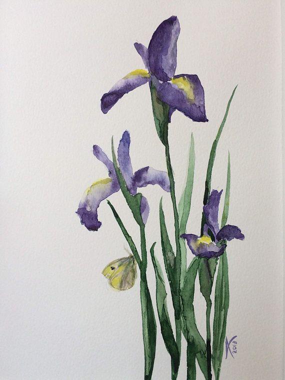 Iris Flower Painting Original Watercolor Purple Irises Wall Flower Painting Original Iris Painting Flower Painting