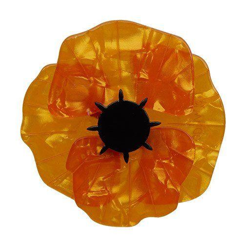 Poppy Field (Erstwilder Orange Resin Poppy Brooch) - Glitterally - 1