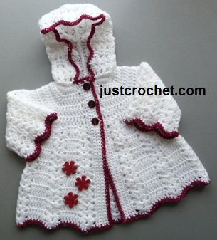 Free crochet pattern for hooded coat from http://www.justcrochet.com/hooded-coat-usa.html #justcrochet #freecrochetpatterns #patternsforcrochet: