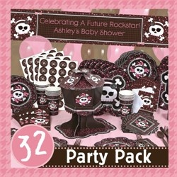 This package is spectacular! It has absolutely everything you need for your Rock Star girl baby shower. This is called the skullicious party pack and you can find more at http://www.modern-baby-shower-ideas.com/punk-rock-baby-shower.html