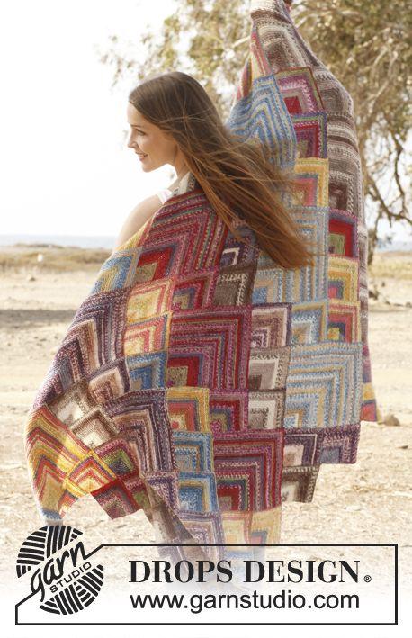 "Moroccan colors - Gestrickte DROPS Decke mit Dominoquadraten in ""Fabel"". - Free pattern by DROPS Design"