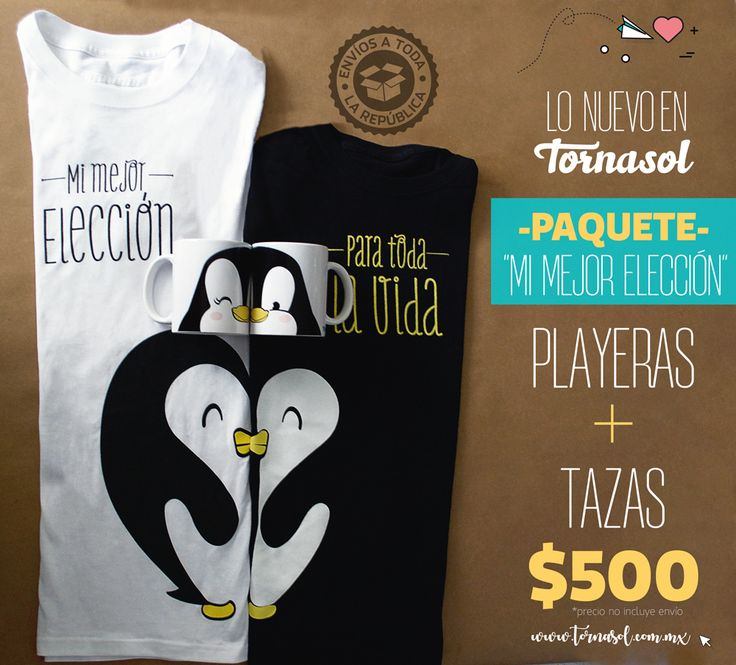 -PAQUETE MI PAREJA IDEAL-  Les tenemos esta chulada de playeras y tazas a un súper precio.   ❤️Ideal para regalar a esa persona que nos hace suspirar todo el día #Pingüinos #penguin #love #amor #cups #playeras #tshirt #cute pingüino #taza #tazas #cup  #pareja  #forever #romantic #tornasol
