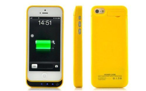 Yellow iphone 5 5c 5s and SE model power charging case 2200mAh of power available from our webstore