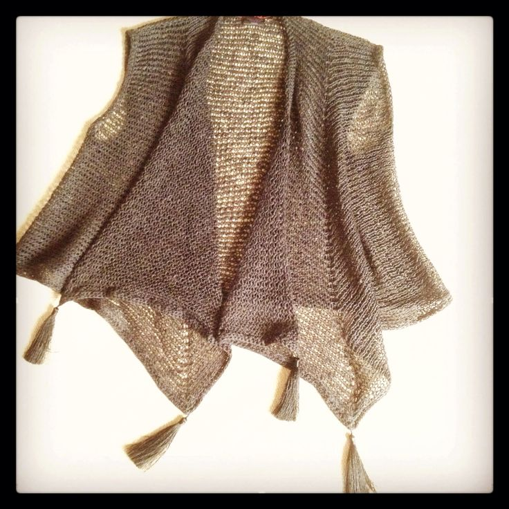 Knitted piece in cotton linen viscose with tassels by Tanja kozub knitwear