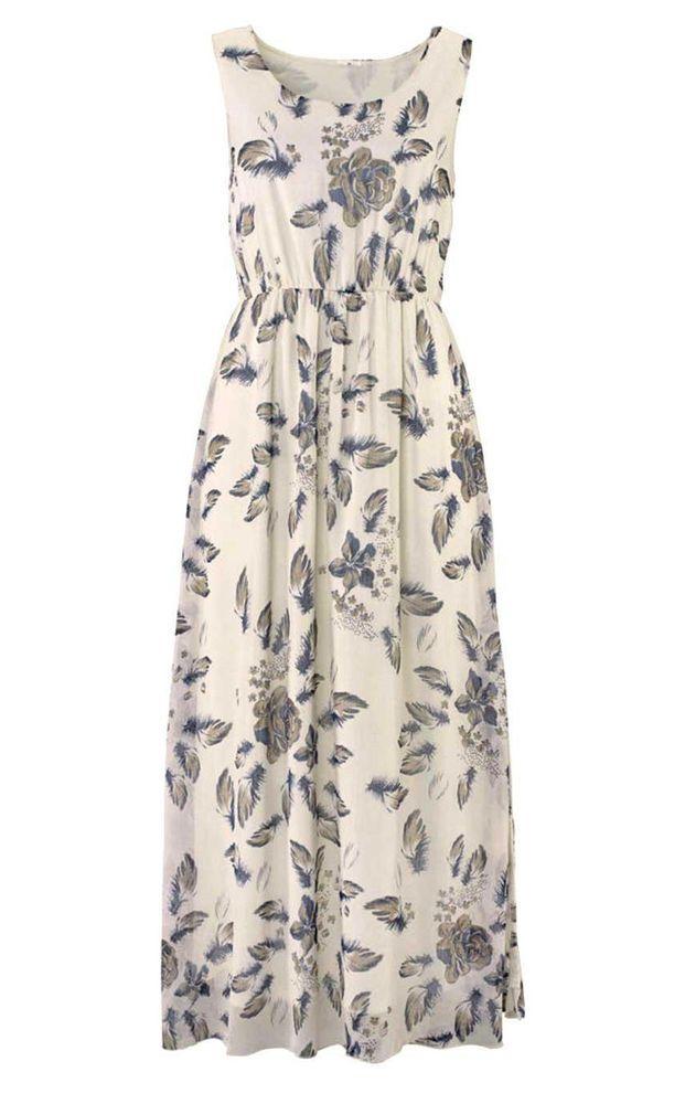 VIVANCE Maxikleid Sommer Kleid creme Neu Gr.44