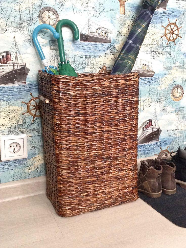 Wicker basket for stuff, Brown, Bamboo handles, Tall Storage bin, Closet organizer, Storage basket, Hallway basket, Bathroom bin, Home decor by TheRootsoftheSoul on Etsy