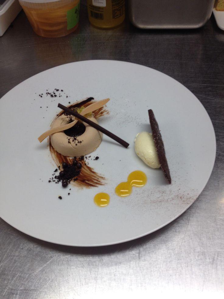 Valrhona Dulcey Chocolate Semifreddo, Passion Fruit Pearls, Crisp Chocolate Shortbread