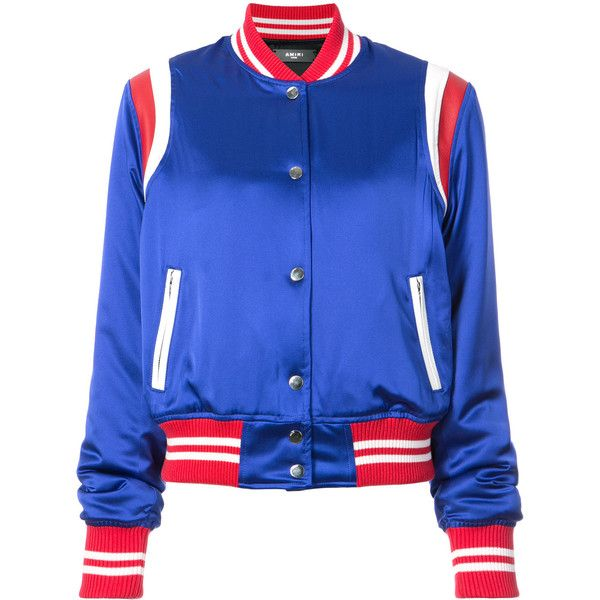 Amiri stripe detailed bomber jacket ($2,810) ❤ liked on Polyvore featuring outerwear, jackets, blue, long sleeve jacket, blue silk jacket, amiri, silk bomber jackets and blue striped jacket