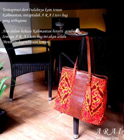 Most of you may think Kalimantan is only has a big forest. You have to see this tote bag, this lovely tote bag made by Kalimantan's fabric calls kain tenun kalimantan :)