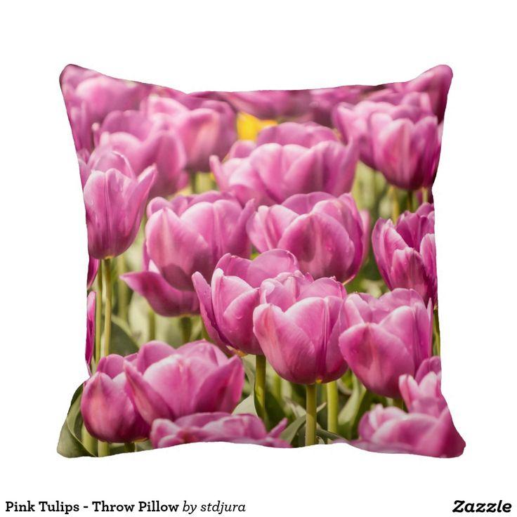 Pink Tulips - Throw Pillow