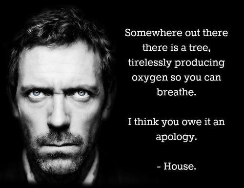 The show, House, which I love a great deal, mostly because House insults people, by being right and using his brain. Logic, people. Look into it.