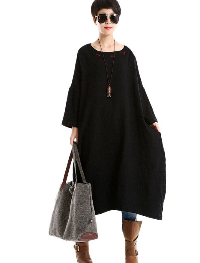 Minibee Women's Raglan Sleeve Cotton Linen Dress with Pockets Red |  Amazon.com