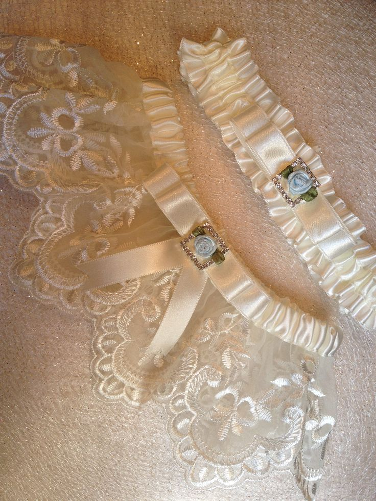 Aqua And Ivory Wedding Garter Bridal Lace Custom Toss Included