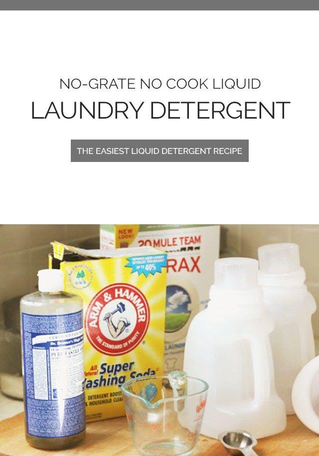No Grate No Cook Liquid Homemade Laundry Detergent Recipe