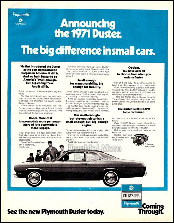 1971 Plymouth Duster Auto Ad // Retro Advertisement for Plymouth Duster // 1970s Autos // Vintage Ads for Plymouth Duster // 70s Sports Cars