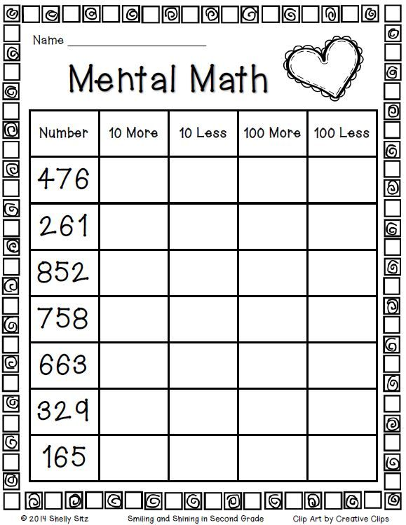 "Second Grade Mental Math Freebie…click on the word ""here"""