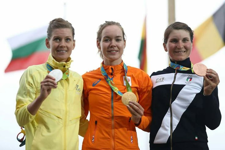 RIO DE JANEIRO, BRAZIL - AUGUST 07: (L-R) Silver medalist Emma Johansson of Sweden, gold medalist Anna van der Breggen of the Netherlands and bronze medalist Elisa Longo Borghini of Italy pose for a photo on the podium following the Women's Road Race on Day 2 of the Rio 2016 Olympic Games at Fort Copacabana on August 7, 2016 in Rio de Janeiro, Brazil. (Photo by Bryn Lennon/Getty Images)