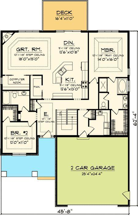 Easy To Build 2 Bed Home Plan   89819AH | Craftsman, Northwest,