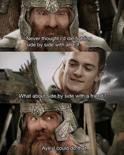Gimli and Legolas just the fact that it's a dwarf and an elf makes if all the more a true friendship...