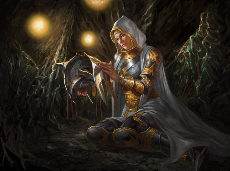 Born on a plane ruined by strife and darkness, this white mage left home when her Planeswalker spark ignited—and she never returned. Elspeth specializes in community and fortification, wielding spells...