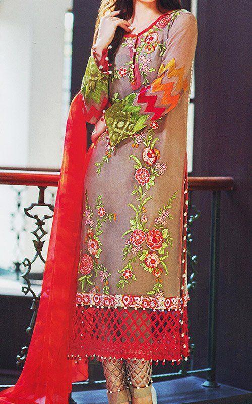 Red/Beige Chiffon Suit. | Buy Pakistani Indian Dresses | 786Shop.com