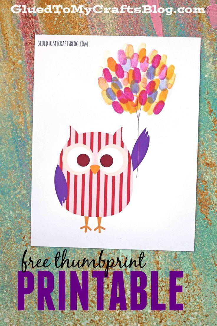 Free Thumbprint Balloon Kid Craft Printable
