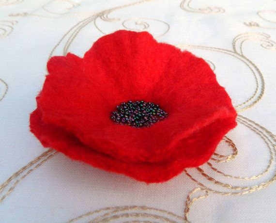 Red Poppy Pin Brooch Corsage with Black Beads by Pennyjanedesigns